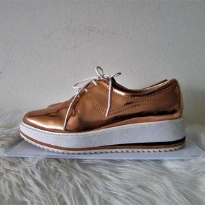 Zara rose gold platform sneakers  size 7.5/8